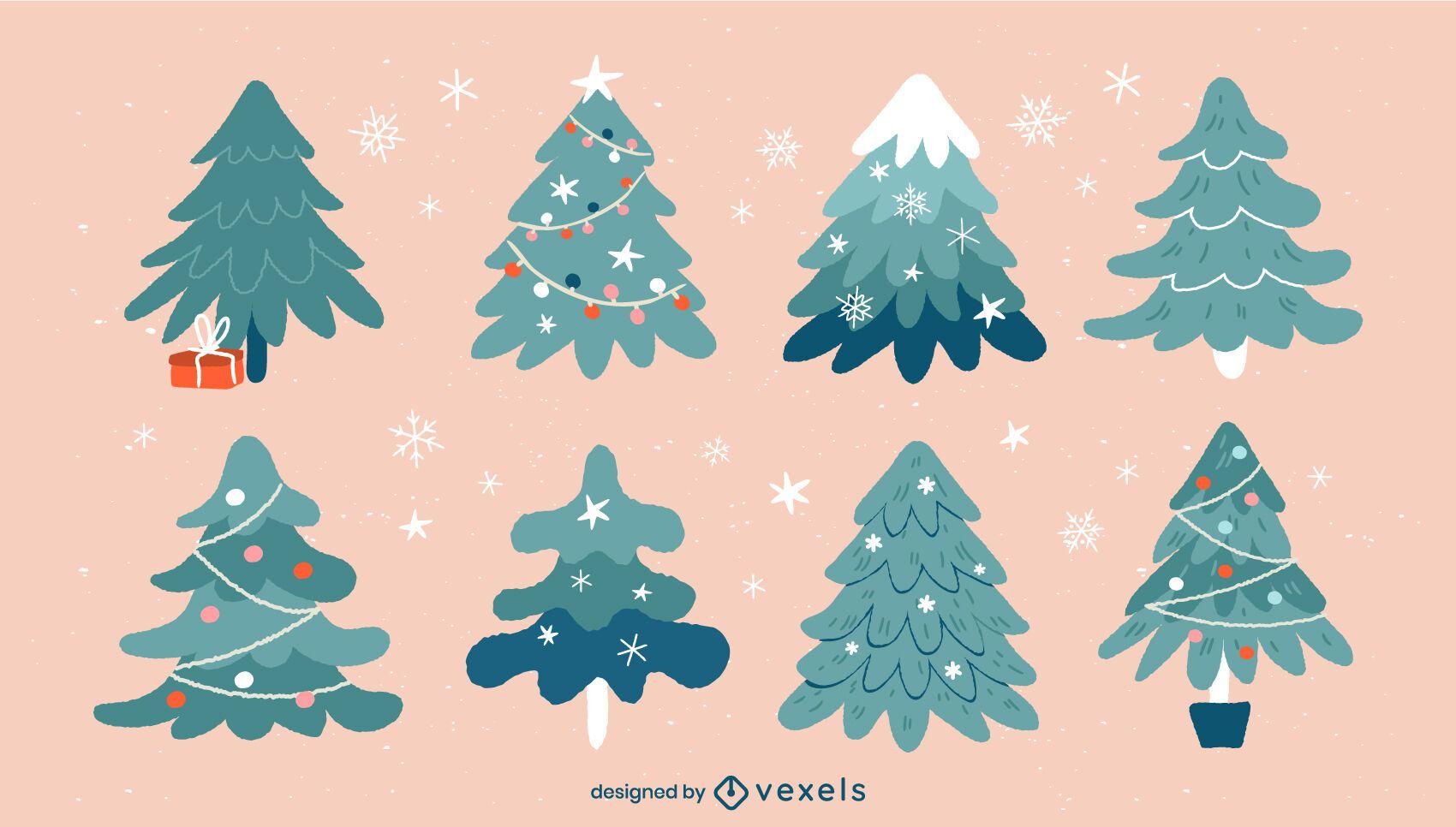 Christmas trees illustration set