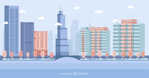 Chicago Flat Style Skyline Design