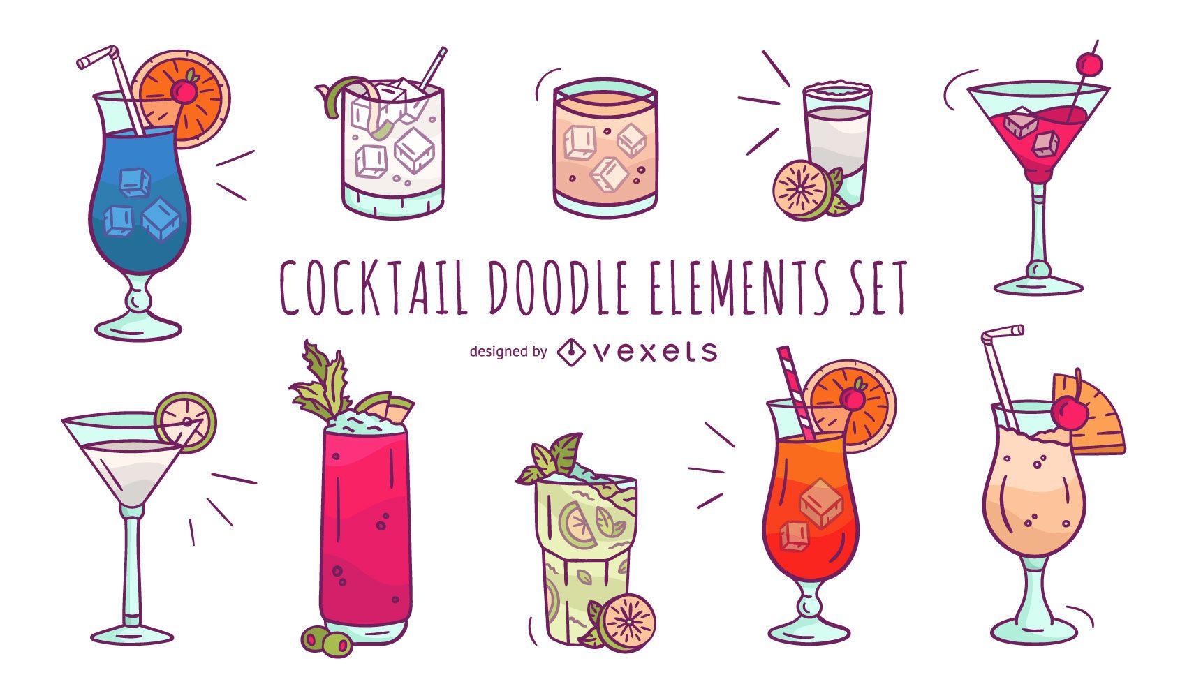 Conjunto de elementos de Doodle de cóctel