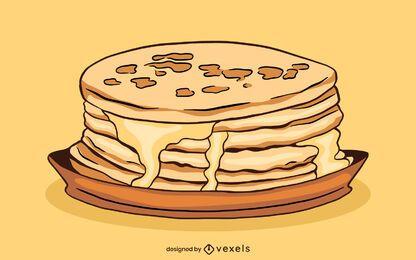 Ilustración de comida de pila de panqueques