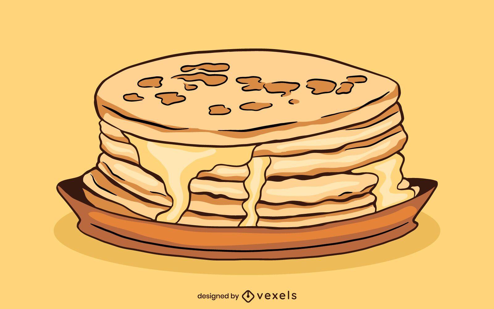 Pancake Stack Food Illustration
