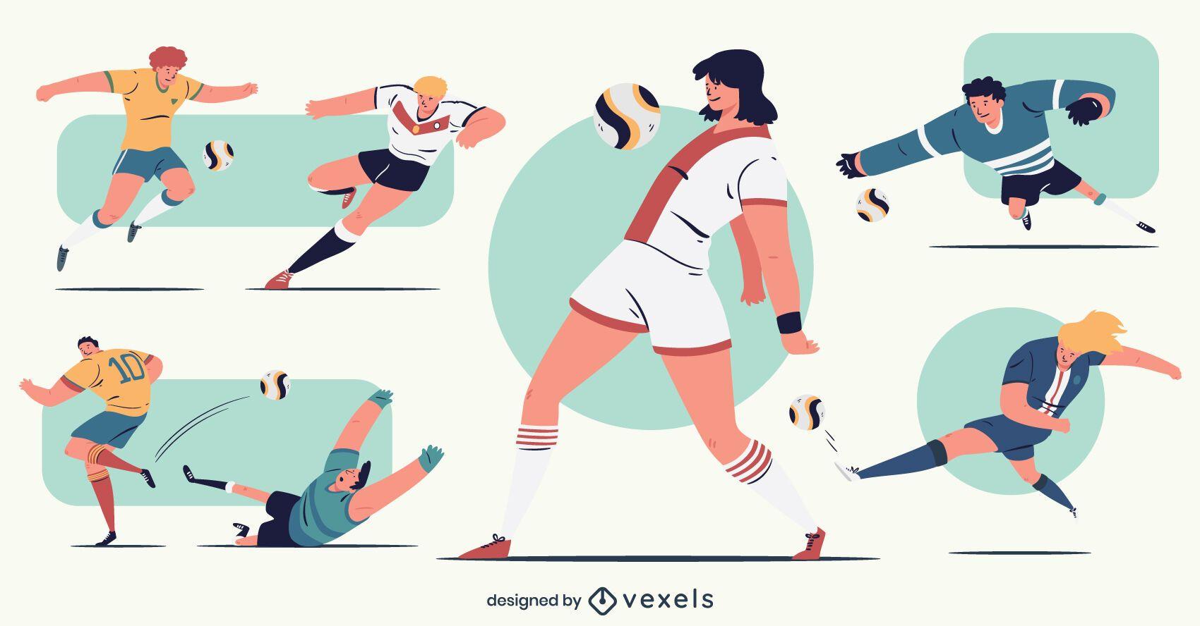 Pack de personajes de jugadores de fútbol masculino