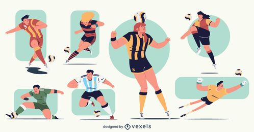 Pacote de personagens de jogador de futebol