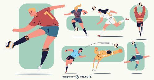 Pack de jugador de fútbol colorido