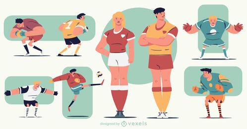 Paquete de personajes coloridos de dibujos animados de fútbol