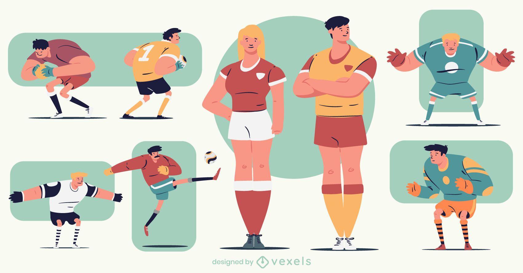 Paquete de personajes de dibujos animados de fútbol colorido