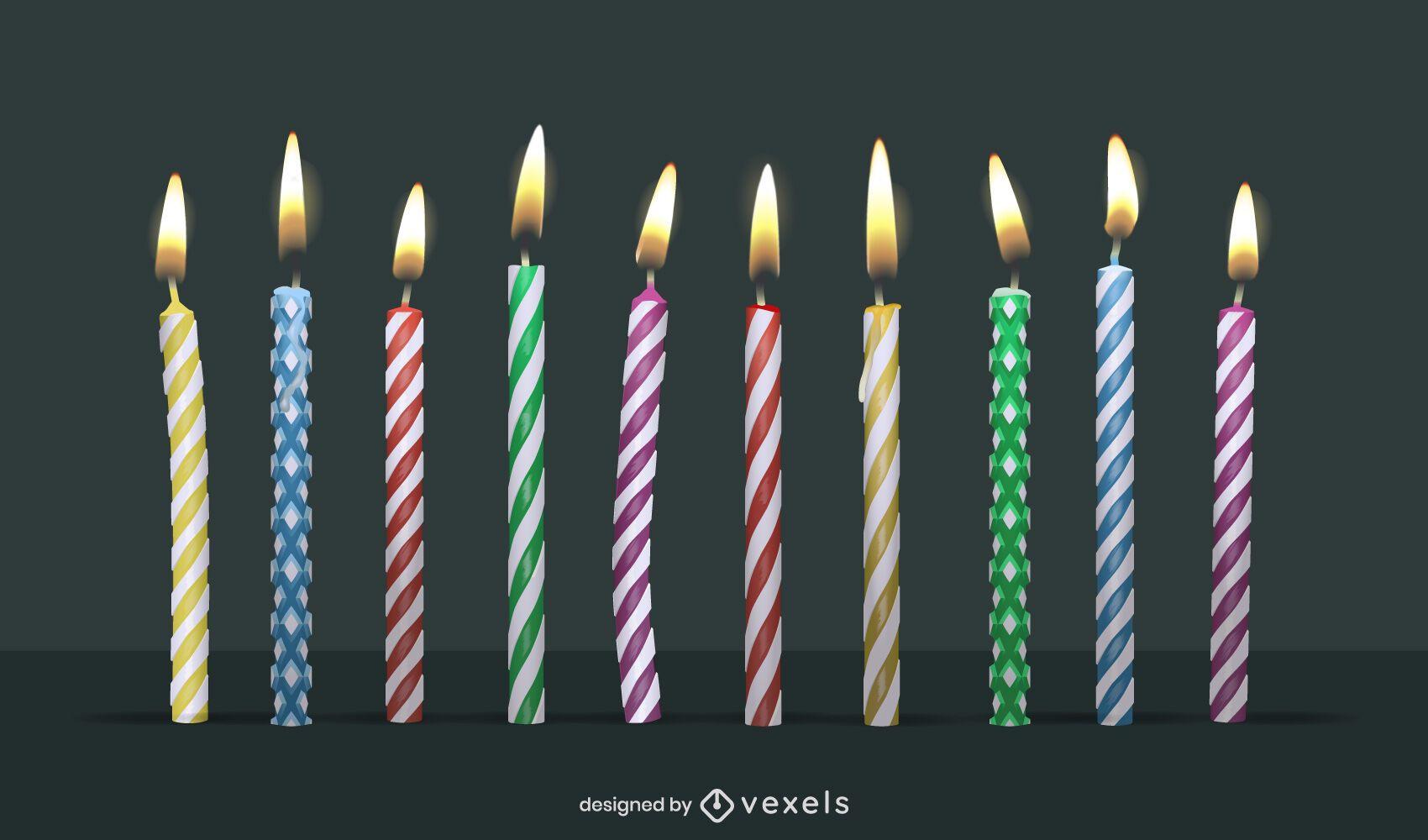 Paquete de diseño de velas de cumpleaños
