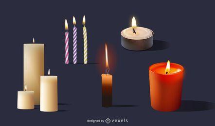 Paquete de diseño de velas realistas