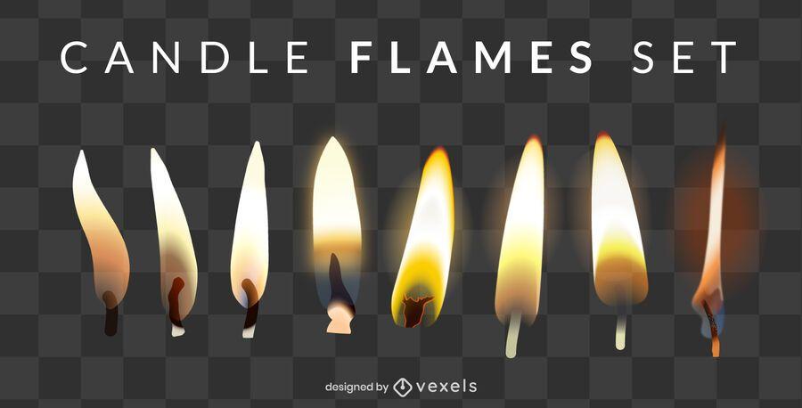 Conjunto de Design de chama de vela