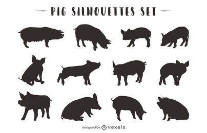 Pacote de silhueta de animais de porco