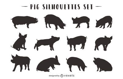 Pig Animal Silhouette Pack