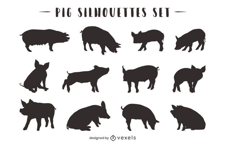 Pack de silueta de animal de cerdo