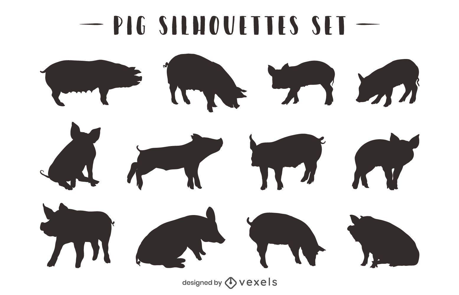 Pig Animal Silhouette Pack