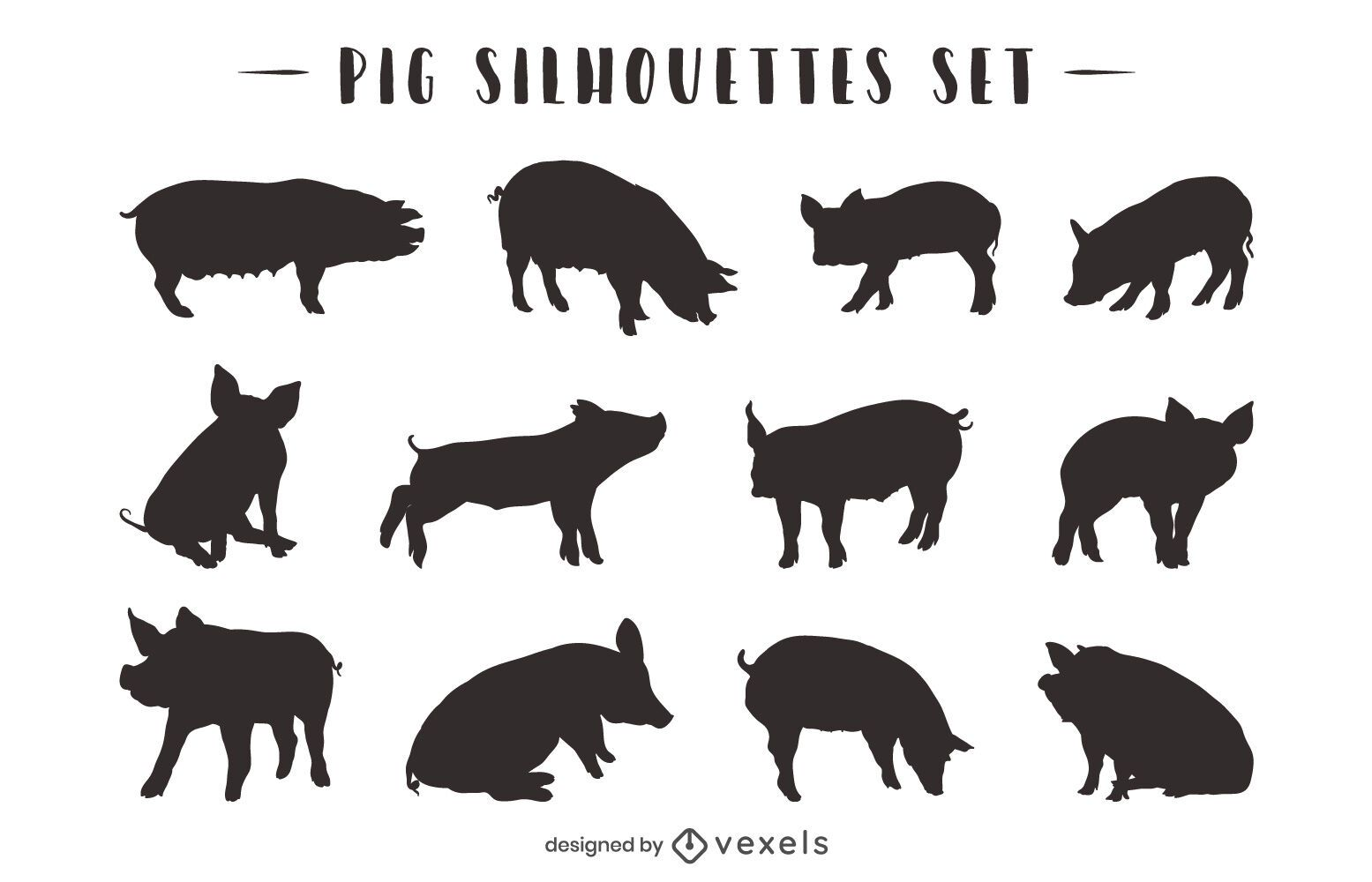 Schwein Tier Silhouette Pack
