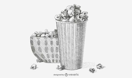 Hand-drawn Popcorn Sketch Illustration