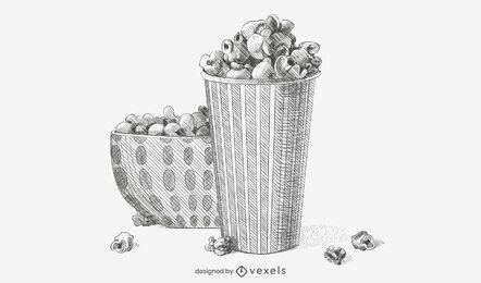 Ilustración de boceto de palomitas de maíz dibujado a mano