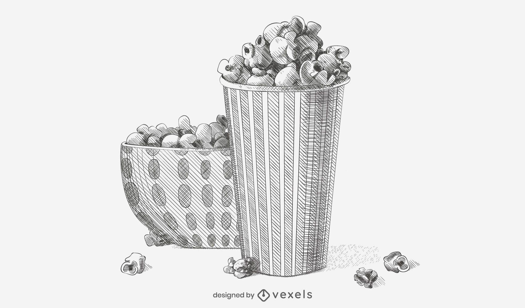Hand-drawn Popcorn Sketch Illustration