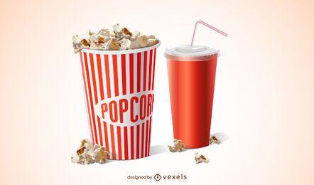 Diseño realista de palomitas de maíz de película