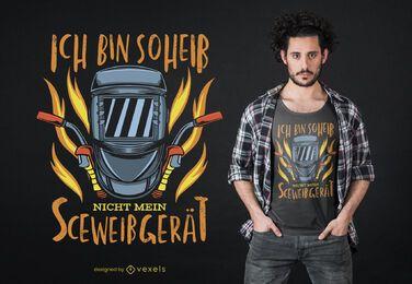 Projeto alemão do t-shirt do texto do soldador