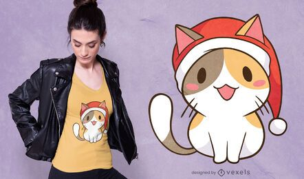 Design de t-shirt do gato do Pai Natal