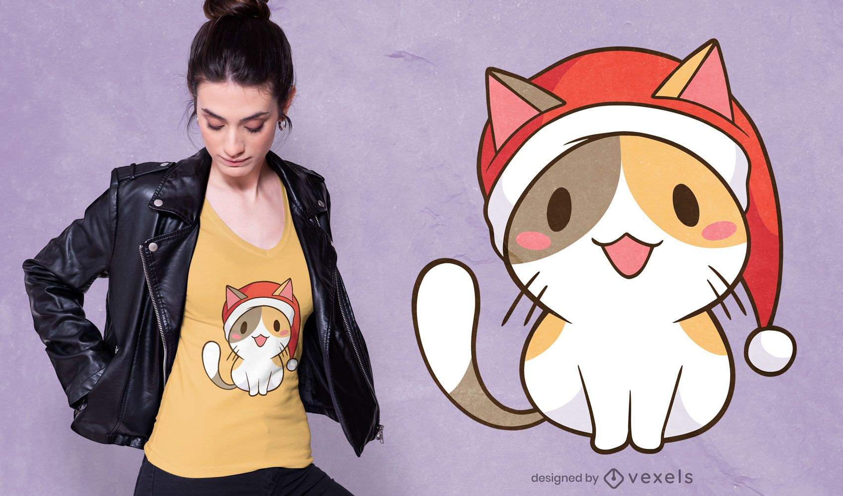 Santa cat t-shirt design