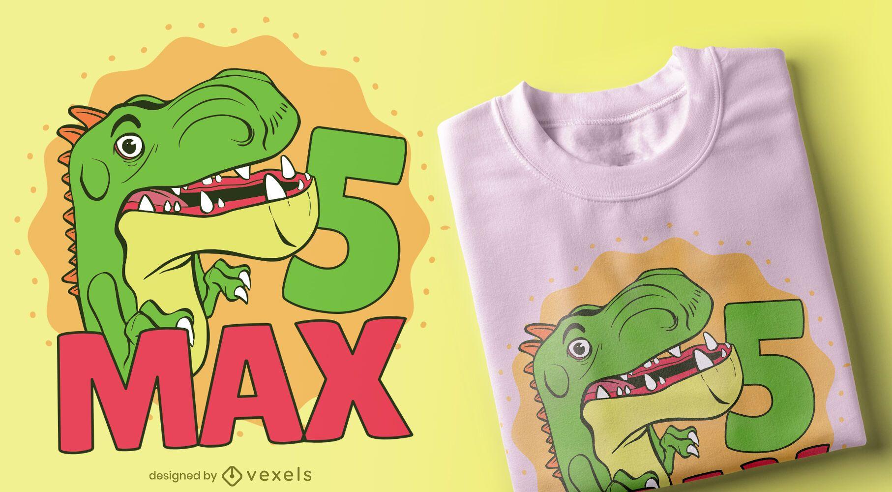 Design da camiseta do Dino de aniversário