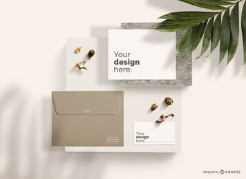 Stationery Branding Top View Mockup Composition