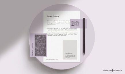 Maqueta de marca de papelería de mesa redonda