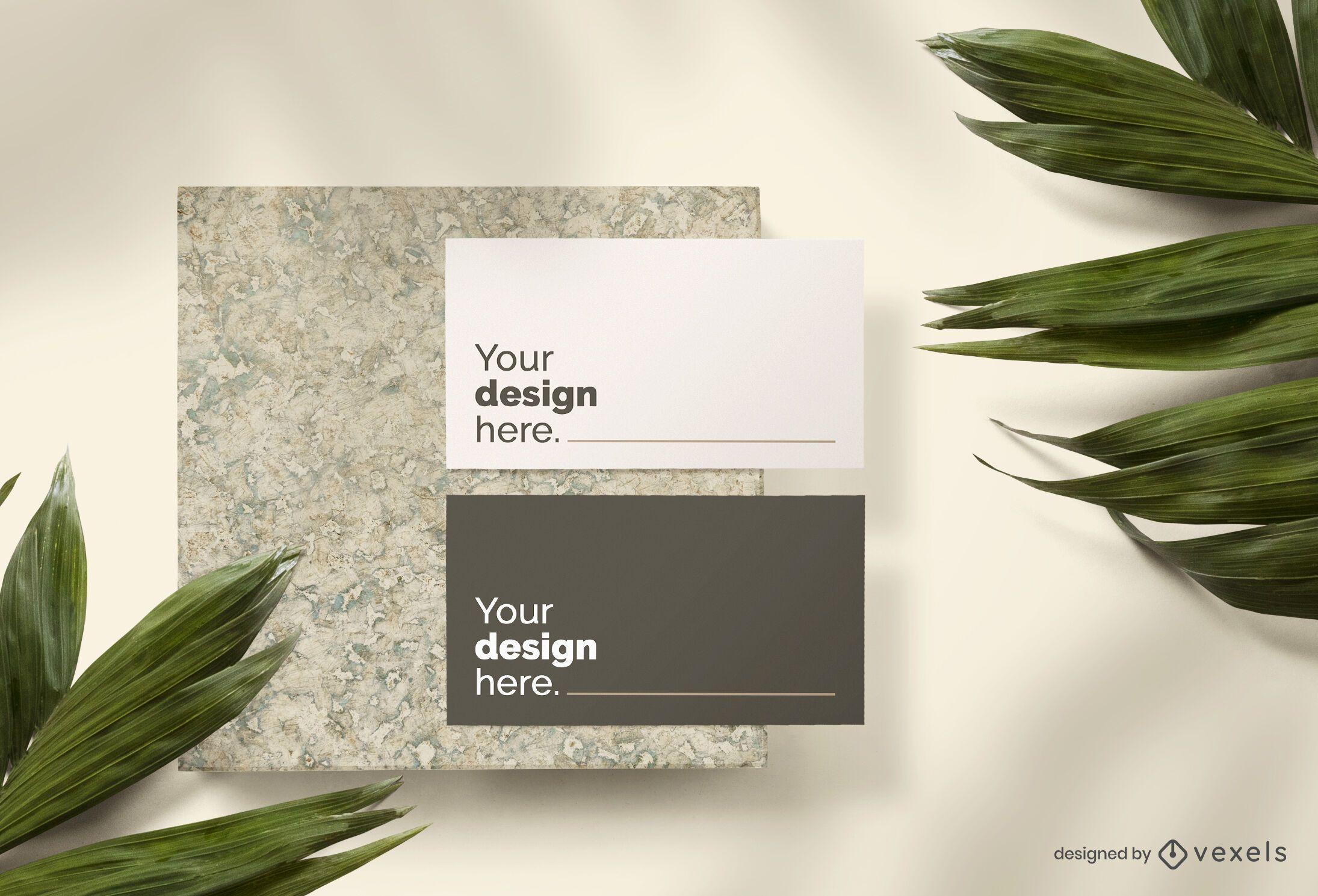 Business card mockup set composition