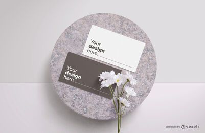 Business card flower mockup composition