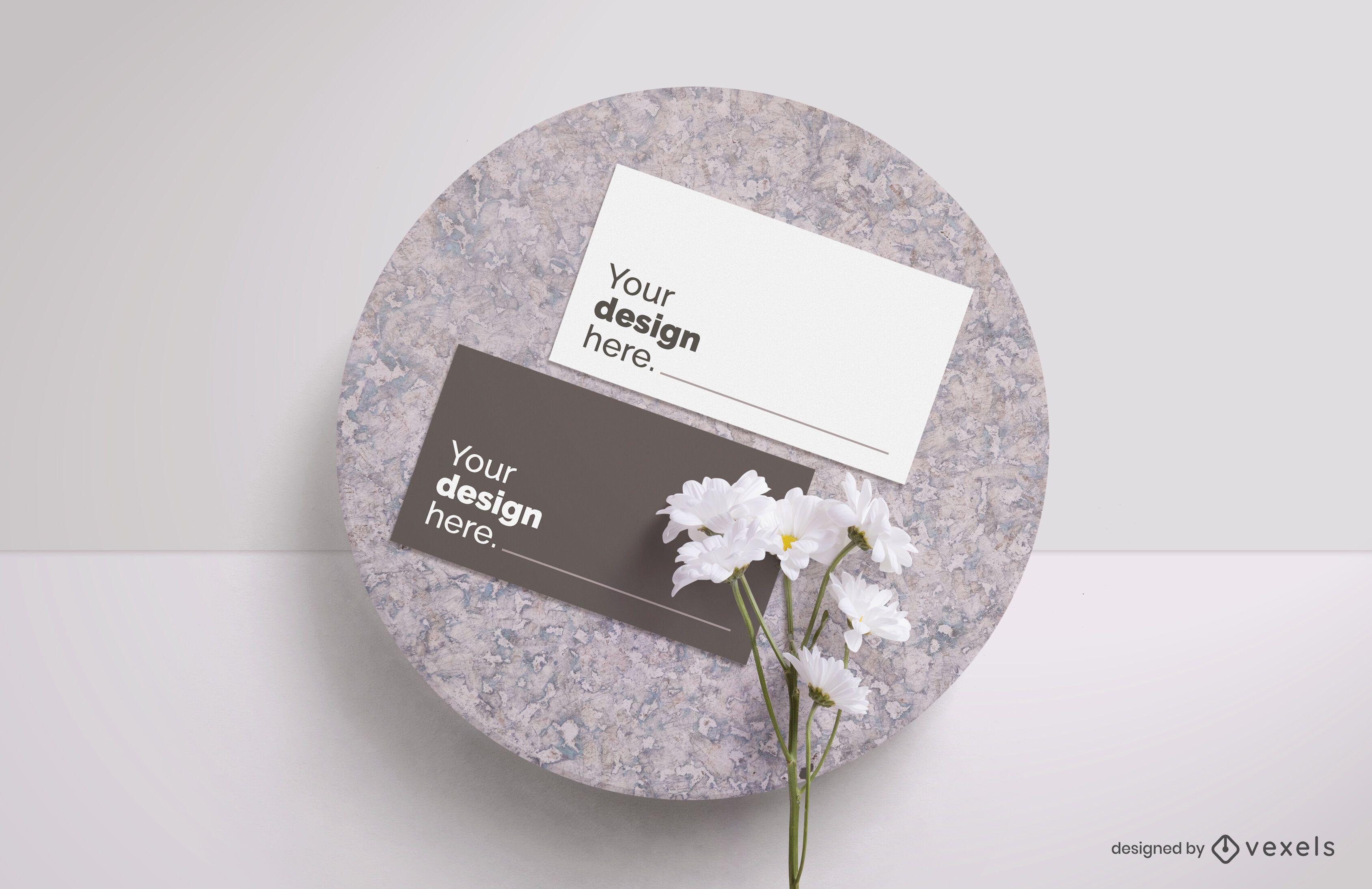 Business card flower mockup composition