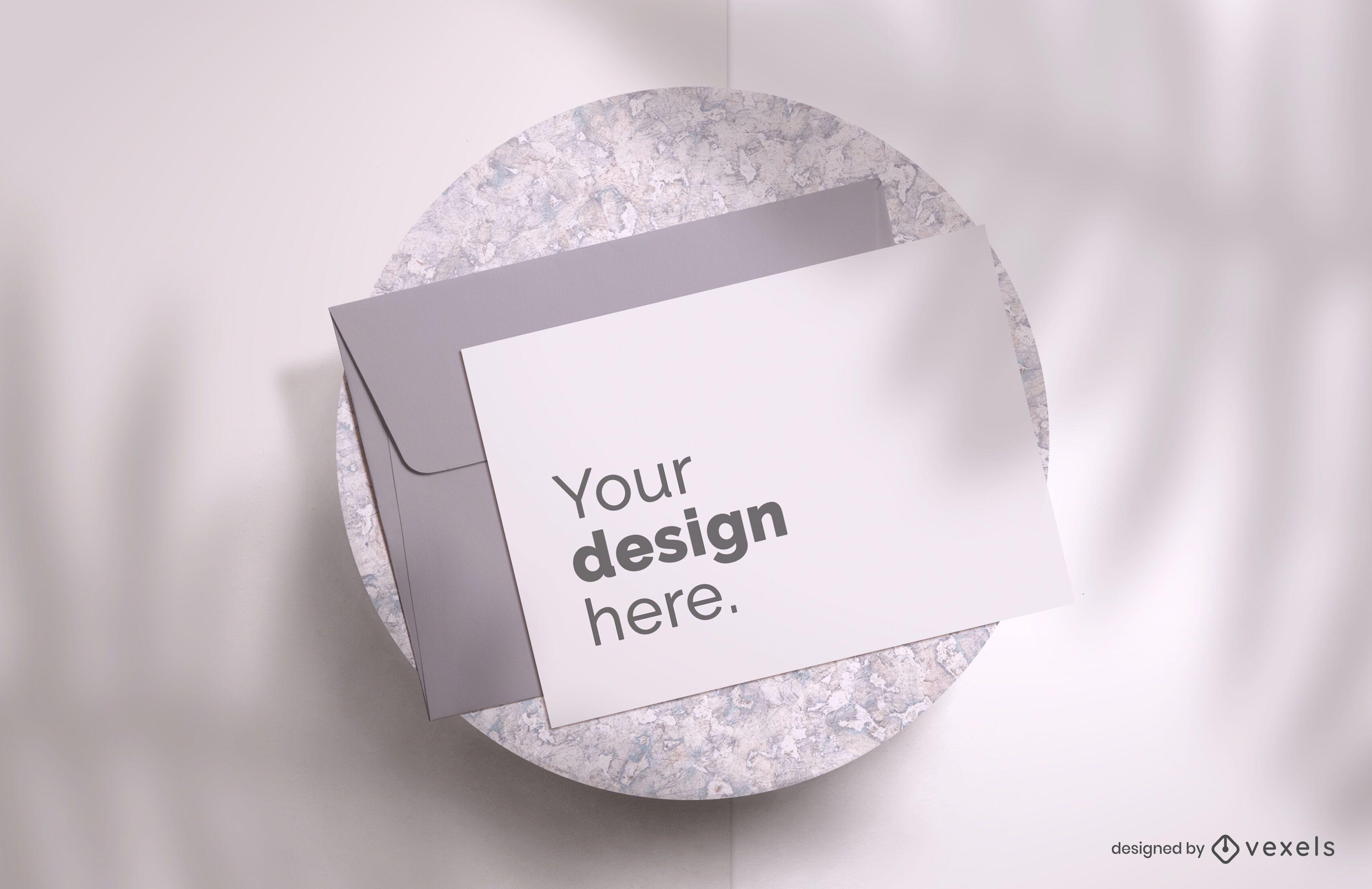 Greeting card shadows mockup design