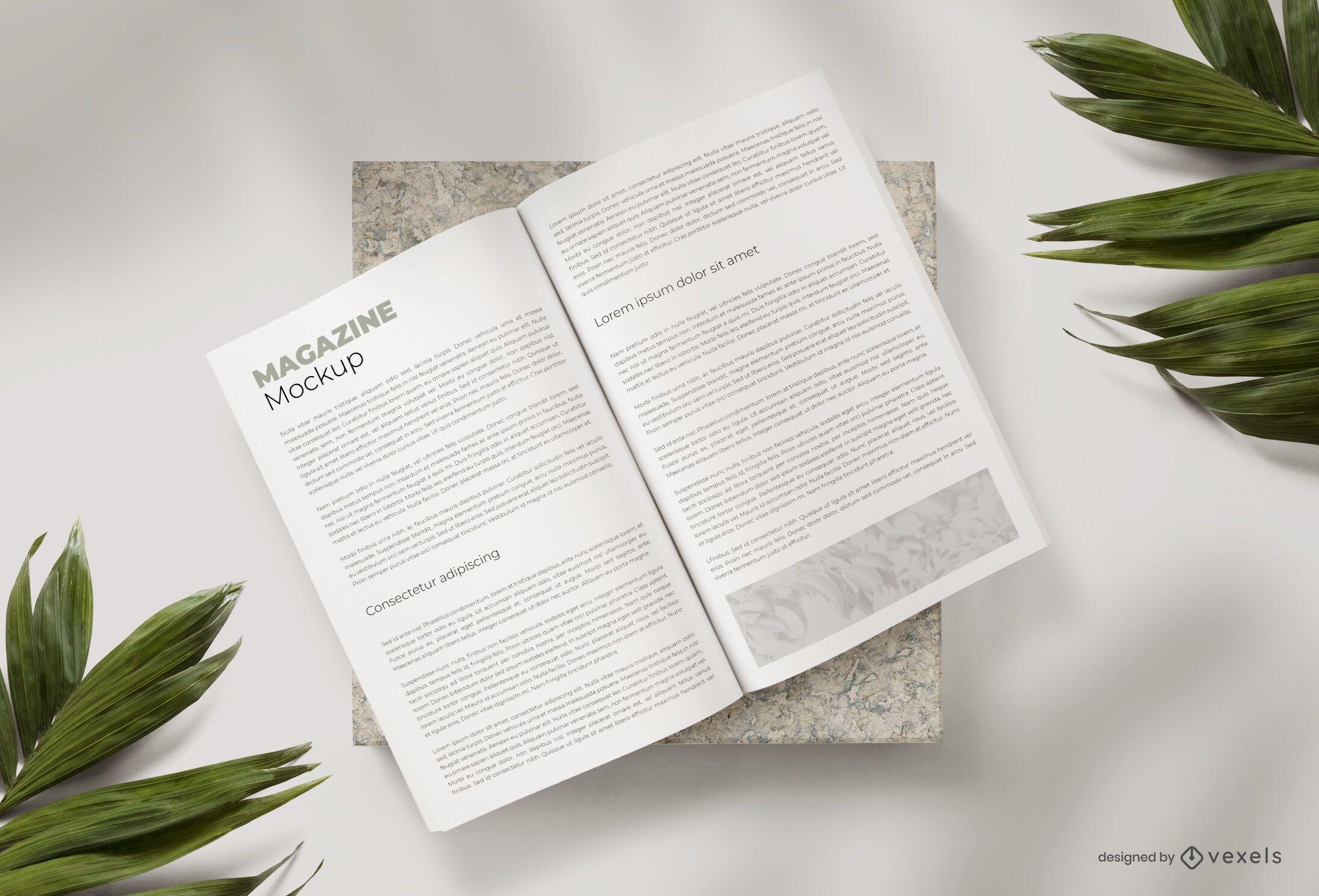 Open magazine mockup composition