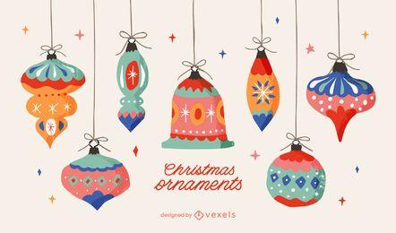 Paquete de ilustración de adornos navideños
