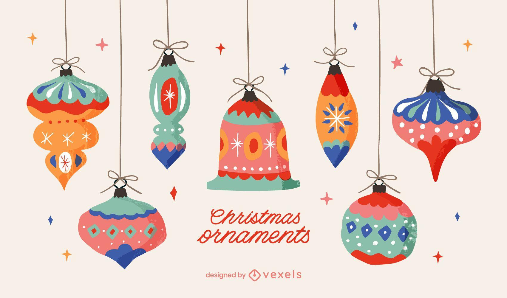 Paquete de ilustraciones de adornos navideños