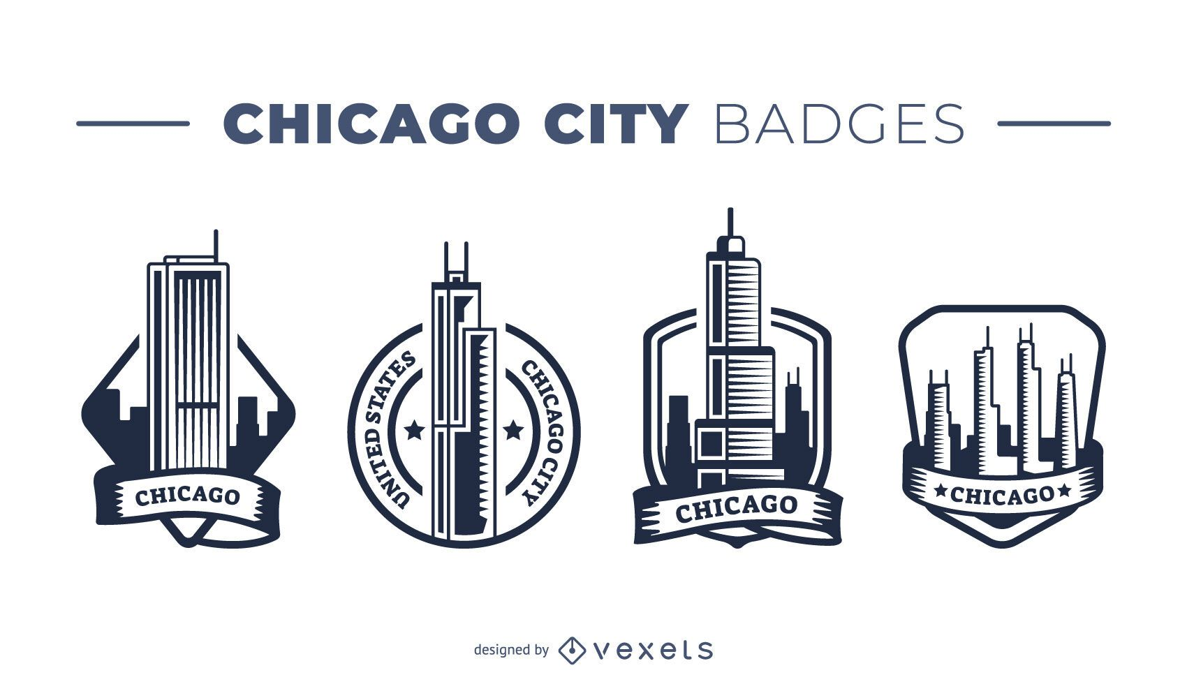 Pacote de crachás da cidade de Chicago