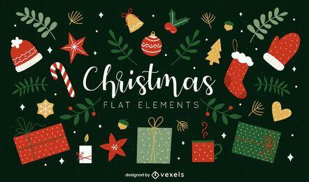 Conjunto de ilustración plana de elementos navideños