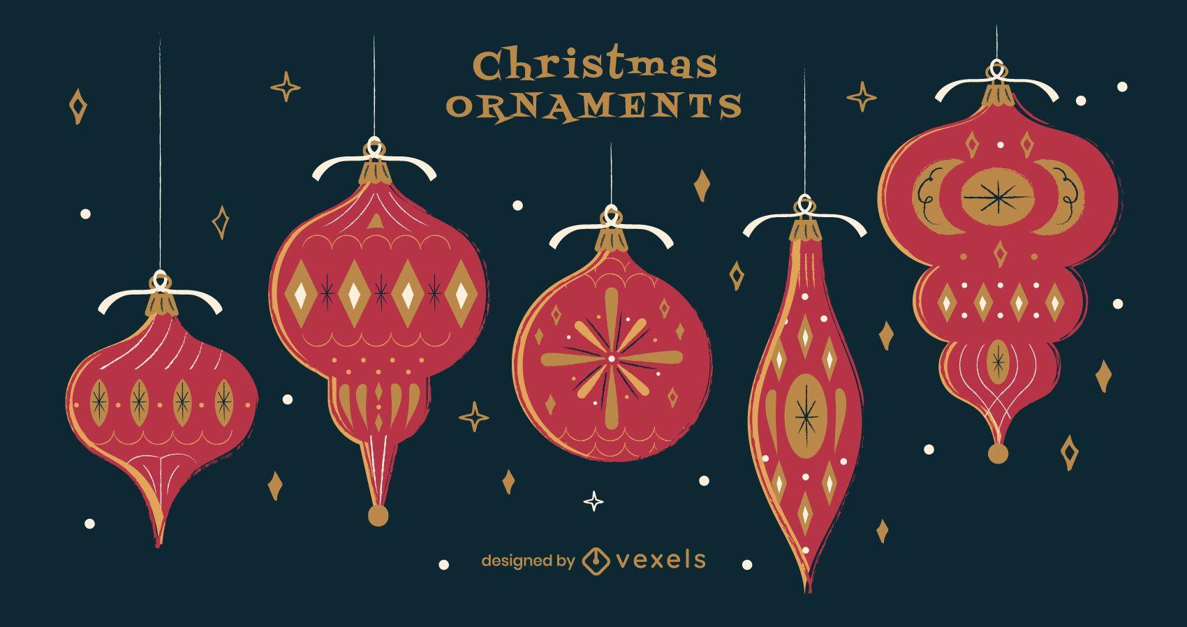 Paquete de adornos navideños rojos