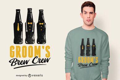 Diseño de camiseta del equipo brew del novio