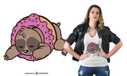 Diseño de camiseta de perezoso donut