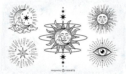 Paquete de ilustración de trazo de sol y luna