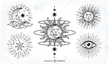 Sun and Moon Stroke Illustration Pack