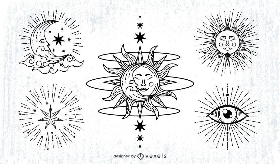 Pacote de ilustração de traço do sol e da lua