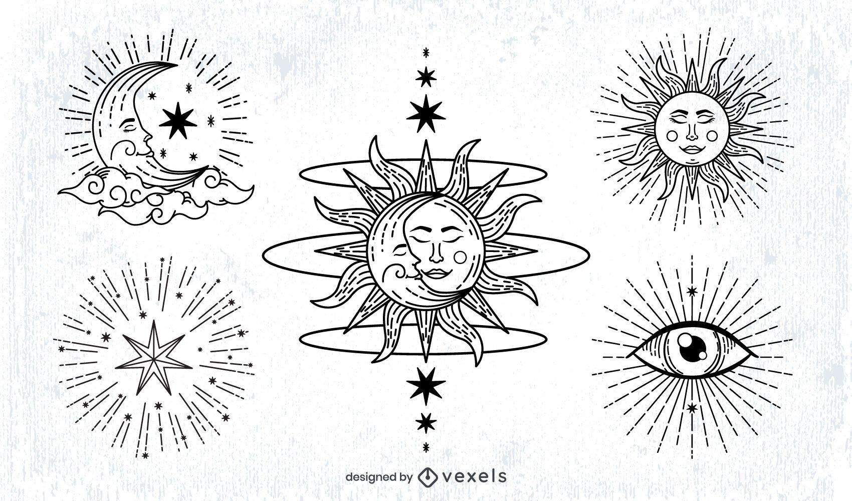 Sun and Moon Stroke Illustration Pack