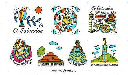Pacote de elementos ilustrados coloridos de El Salvador