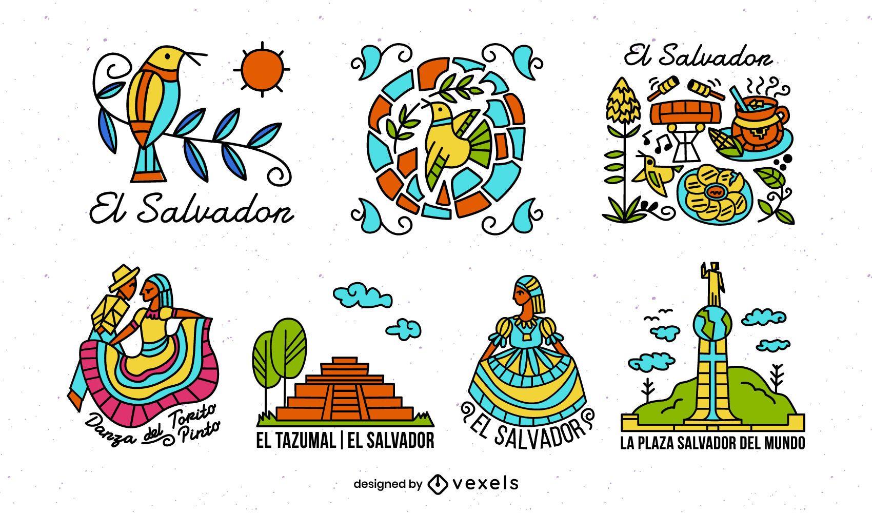 El Salvador Colorful Illustrated Elements Pack