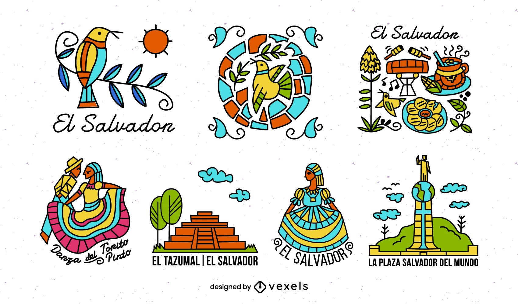 Paquete de elementos ilustrados coloridos de El Salvador