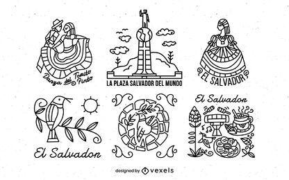 Pacote de ilustração de traçado de El Salvador