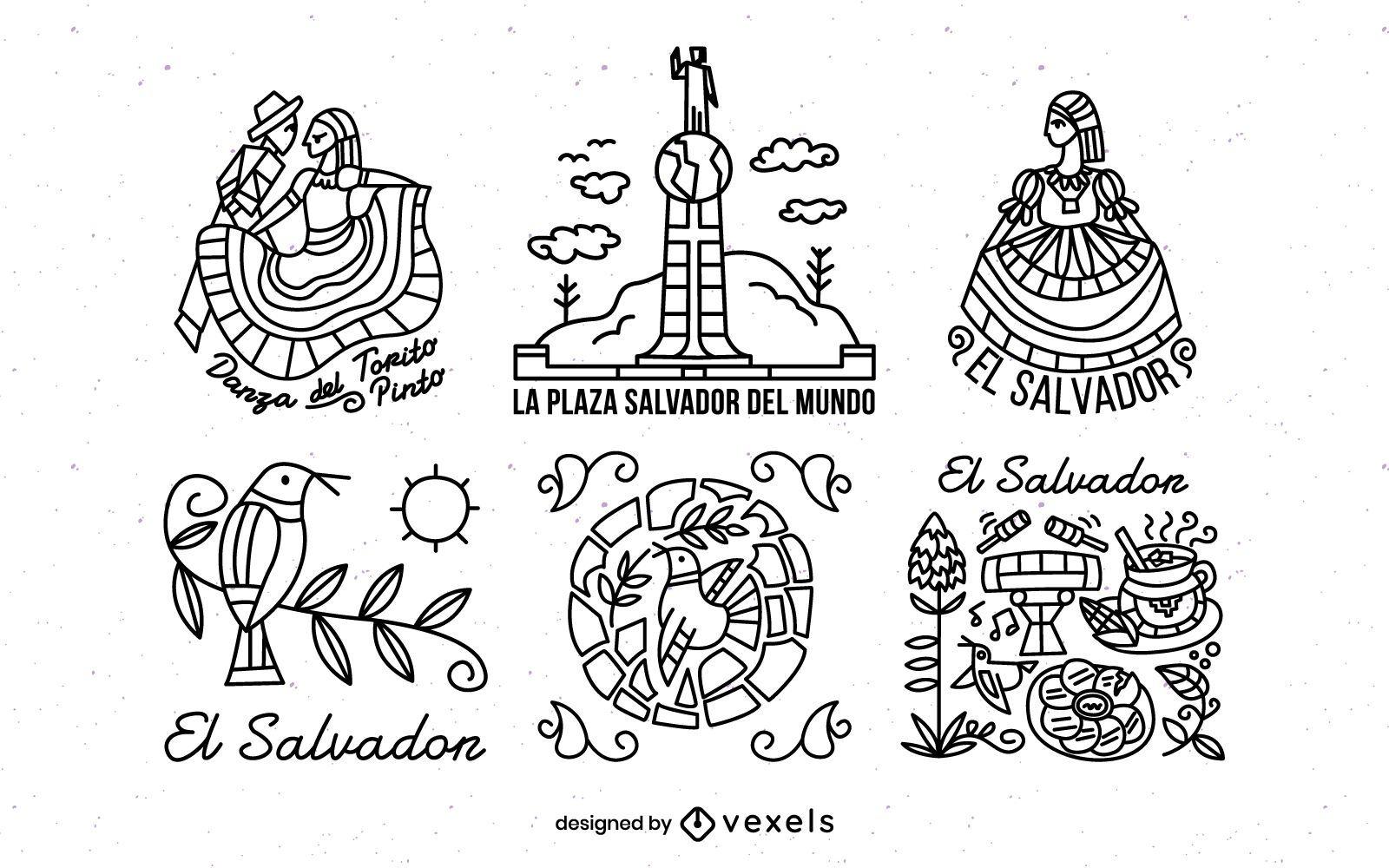 El Salvador Stroke Illustration Pack