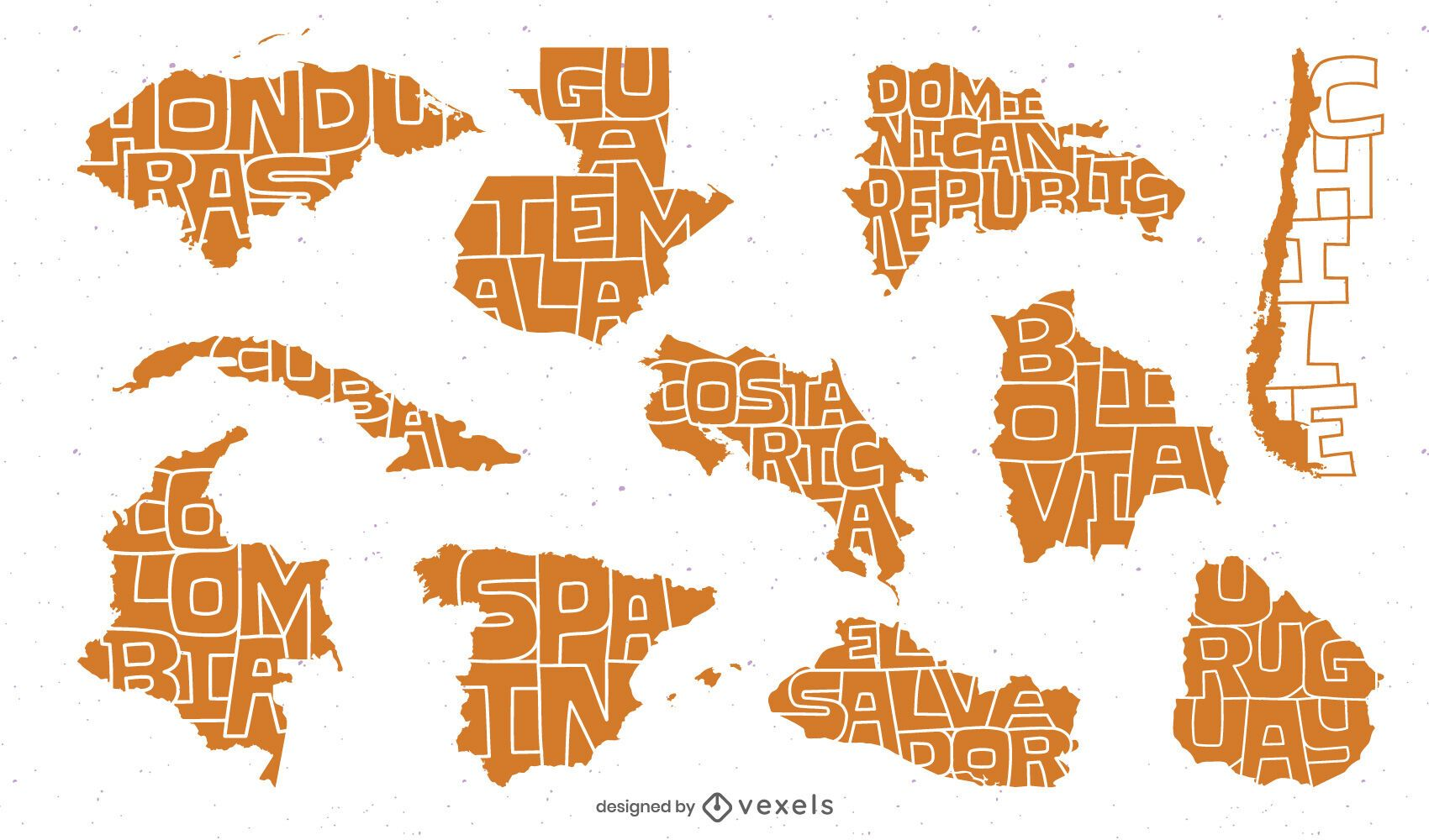 Pacote de país de língua espanhola latina